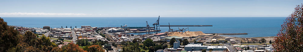 Burnie CBD and Port from Wilfred Campbell Memorial Reserve